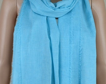 Blue casual cotton scarf, quadrilateral tassel long scarf, shawl, spring, autumn fashion scarf
