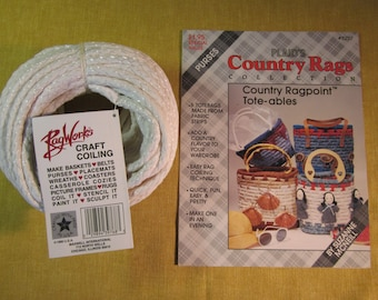"""Rag Works 1/4""""x75' craft coiling plus Plaid's Purses booklet of 6 totebag projects"""