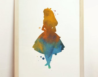 Instant Download Digital Alice in Wonderland Printable Art Print Watercolor Children's Silhouette Art Blue Home 8x10 A4 8.3 x 11.7 in - N3