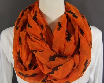 Orange Black Bats Halloween theme lightweight gauzy infinity endless loop cowl long scarf Fall Autumn