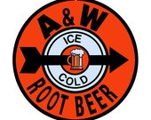 Reproduction A&W Root Beer Sign 14 Round