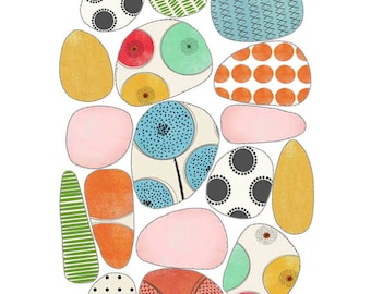"A Giclee Print of Modern Contemporary Original Childrens Art  - ""Pebble Creek"""