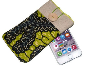 Green Fabric iPhone 6 Case / Linen iPhone 5S Sleeve / Padded iPhone 6 Plus Case / iPhone 4S / iPod Touch 5g pouch /  cell phone pouch