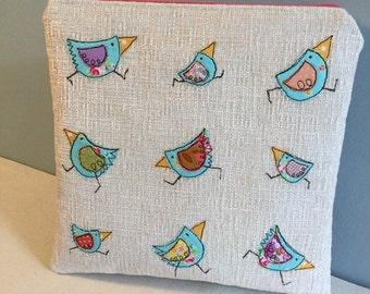Freehand Machine-Embroidered Flat Makeup Bag With Appliqued Dancing Birds.