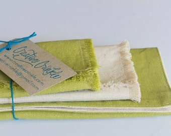 Hemp – Green & Natural Reversible Placemat and Napkin Sets