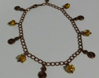 Antique copper and glass charm bead anklet