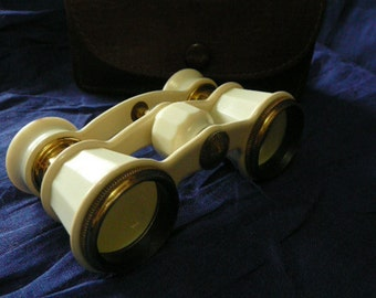 Vintage  ivory color opera glasses,with leather sheath.