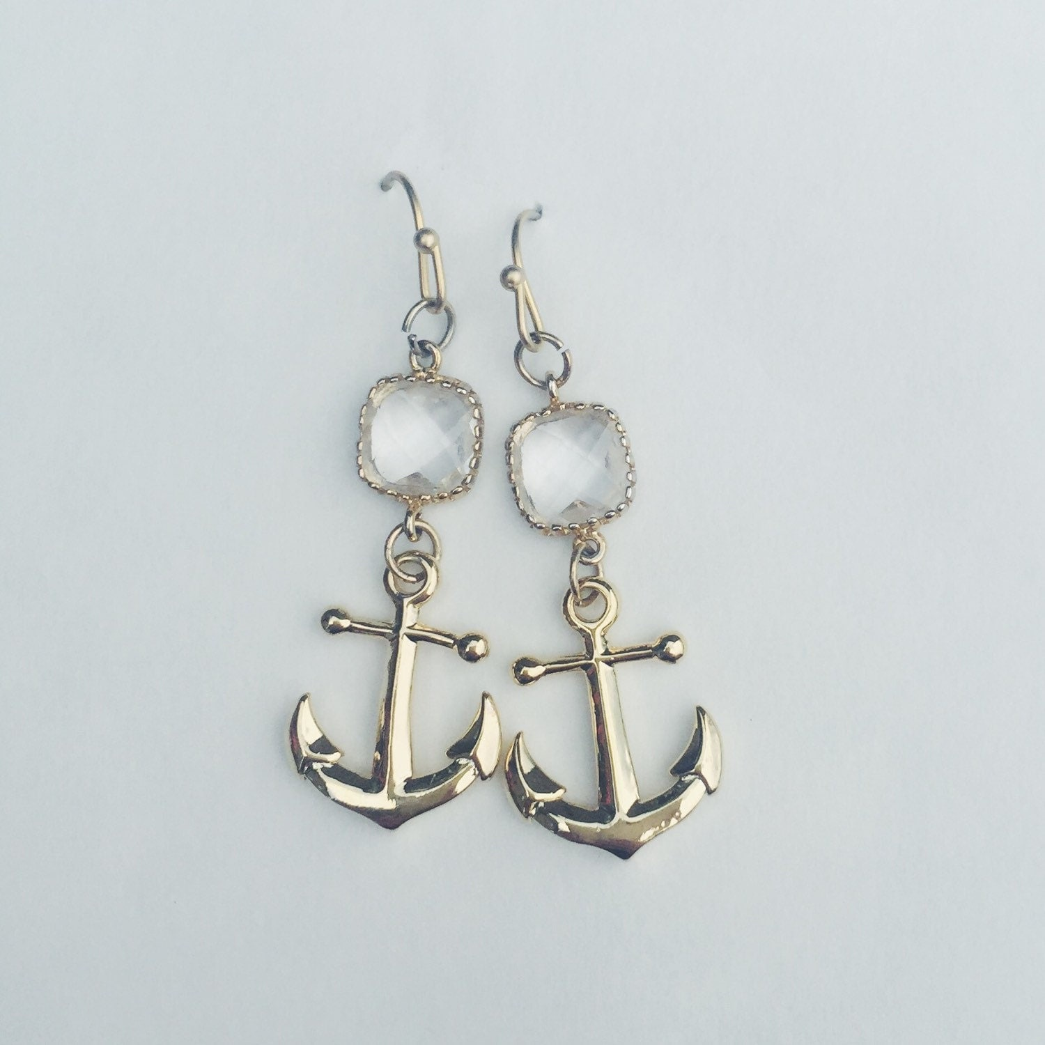 anchor earrings nautical gold with crystals by