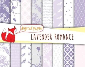 Lavender Digital Paper ~ Purple Damask Printable Paper Pack ~ Weddings,~ Damasks, Florals, Love Poem, Swirls~ Instant Download