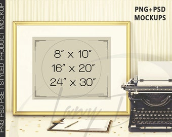 8x10 16x20 24x30 Fine Gold Portrait & Landscape Matted Frame on Table Mockups, Typewriter Flowers Notebook, Print Display Mockup PNG PSD PSE