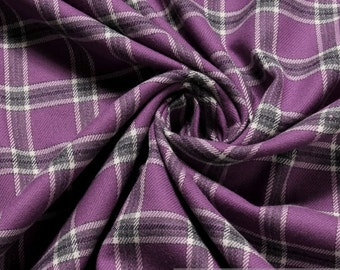 Fabric pure cotton flanell gingham purple anthracite crease-resistant