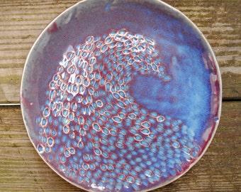Handmade Ceramic Blue/Violet Wave Dinner Plate