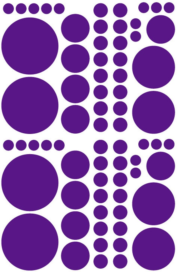 Dark Purple Polka Dots Vinyl Decals great for Teen, Kids, Baby, Nursery, Dorm Room Walls - Removable Custom Made - Super Easy to Install