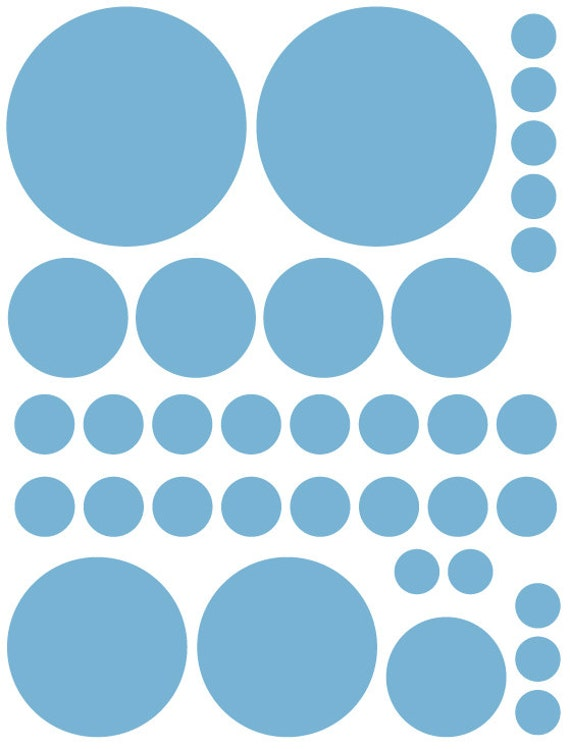 70 Powder Blue Vinyl Polka Dots Bedroom Wall Decals Stickers Teen Kids Baby Nursery Dorm Room Removable Custom Made Easy to Install