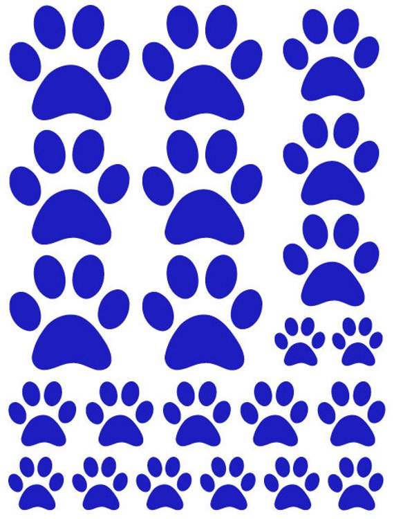 44 Navy Blue Paw Prints Vinyl Wall Decals Stickers Bedroom Teen Kids Baby Dorm Room Cat Dog Pet Removable Custom Easy to Install Wall Art