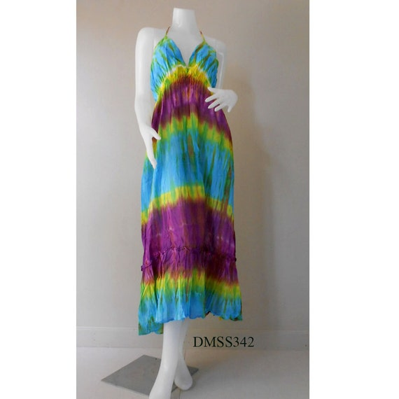 Hippie Gypsy Tie Dye Cotton Women dress,Long Summer Halter Back Smock Maxi Dress  (DMSS 342)