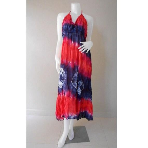 Hippie Gypsy Tie Dye Cotton Long Summer Dress, Halter Back Smock Dress,  Maxi Dress (DMS 348)