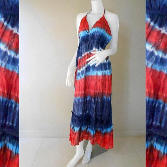 Hippie Gypsy Tie Dye Cotton Long Summer Dress, Halter Back Smock Dress, Maxi Dress (DMS 366)