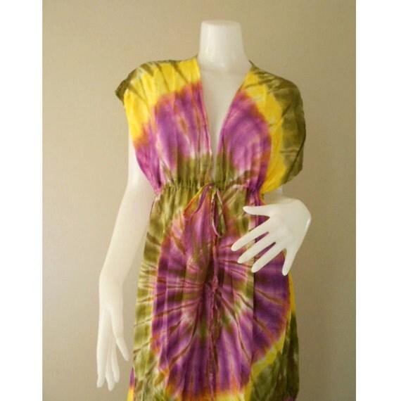 New Tropical Colorful Tie Dye Cotton Boho Hippie V-Neck Long Kimono Women Summer Beach Dress S-L (TD 35)