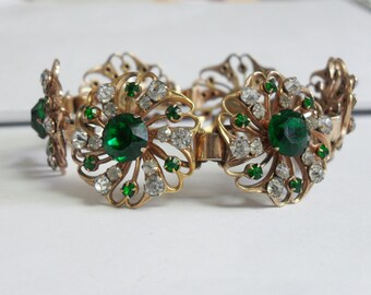Vintage Flower Link Bracelet Art Nuevo Style - SALE