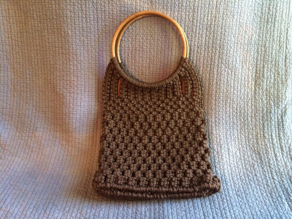 Vintage Crochet Bag : Large Vintage Crochet Purse with Large Wood Hoop by LadyVintage81
