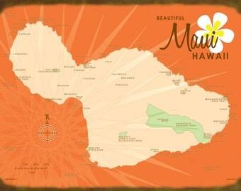 Maui, HI Map (Orange) - Canvas Print