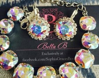 Bella B Crystal AB 10 Stone bracelet & Halo Dangles set