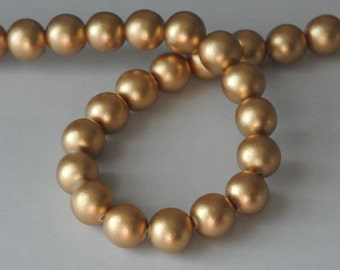 Gold Beads, Round Wood Beads, 15 mm, Large Beads, Chunky Beads, Lightweight Beads, Fast Shipping from USA