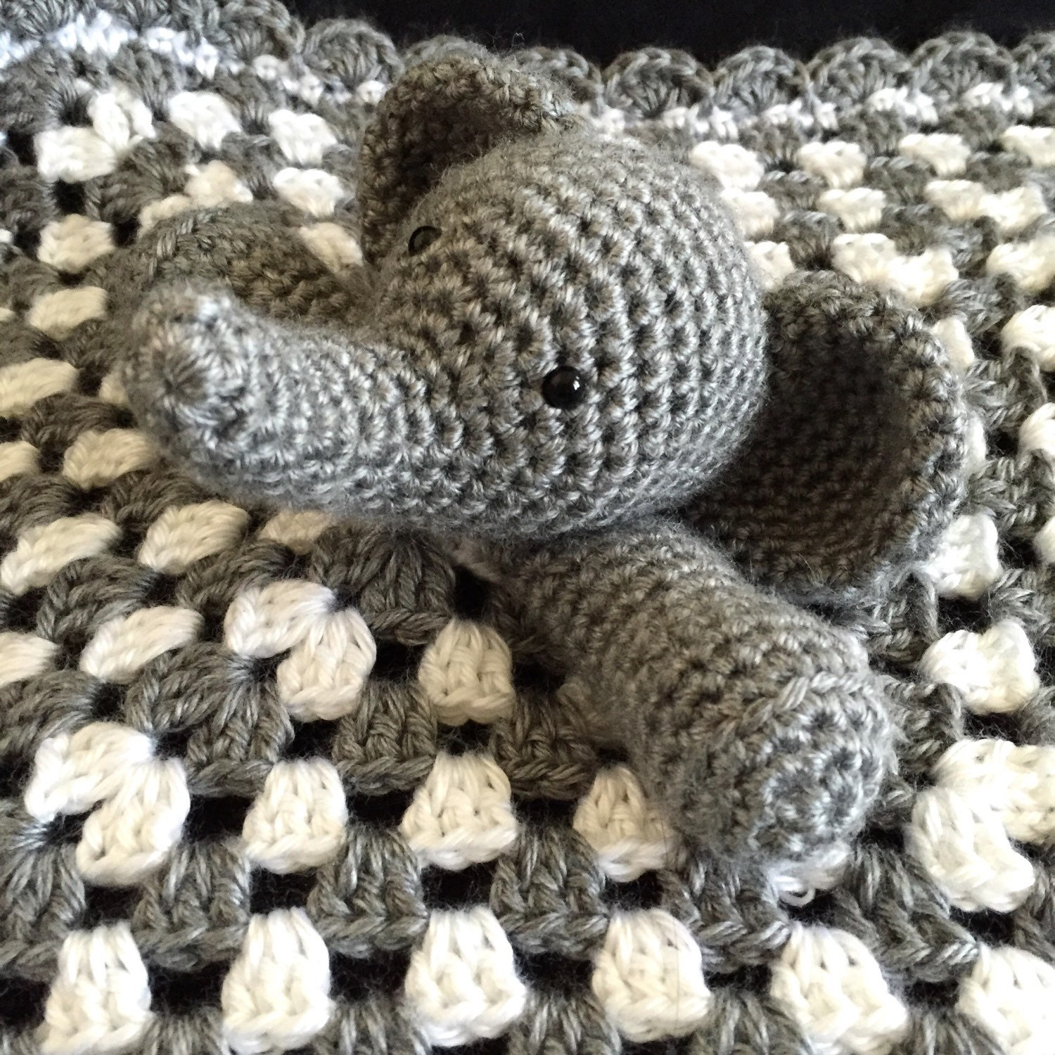 Crochet Elephant Blanket : Elephant lovey security blanket crochet baby blanket