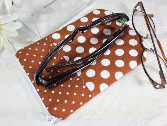 Glasses Case Brown Polka Dots Zipped by PhenomenalWomenShop