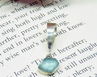 Pale Silver Sea Glass Pendant