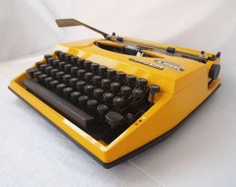 Yellow Adler TIPPA  S  Working Portable Typewriter