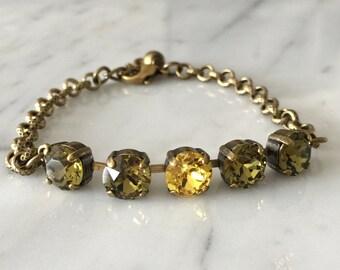 Swarovski Khaki Crystal Bracelet,  Green Crystal Bracelet, Swarovski Green Crystal Bracelet