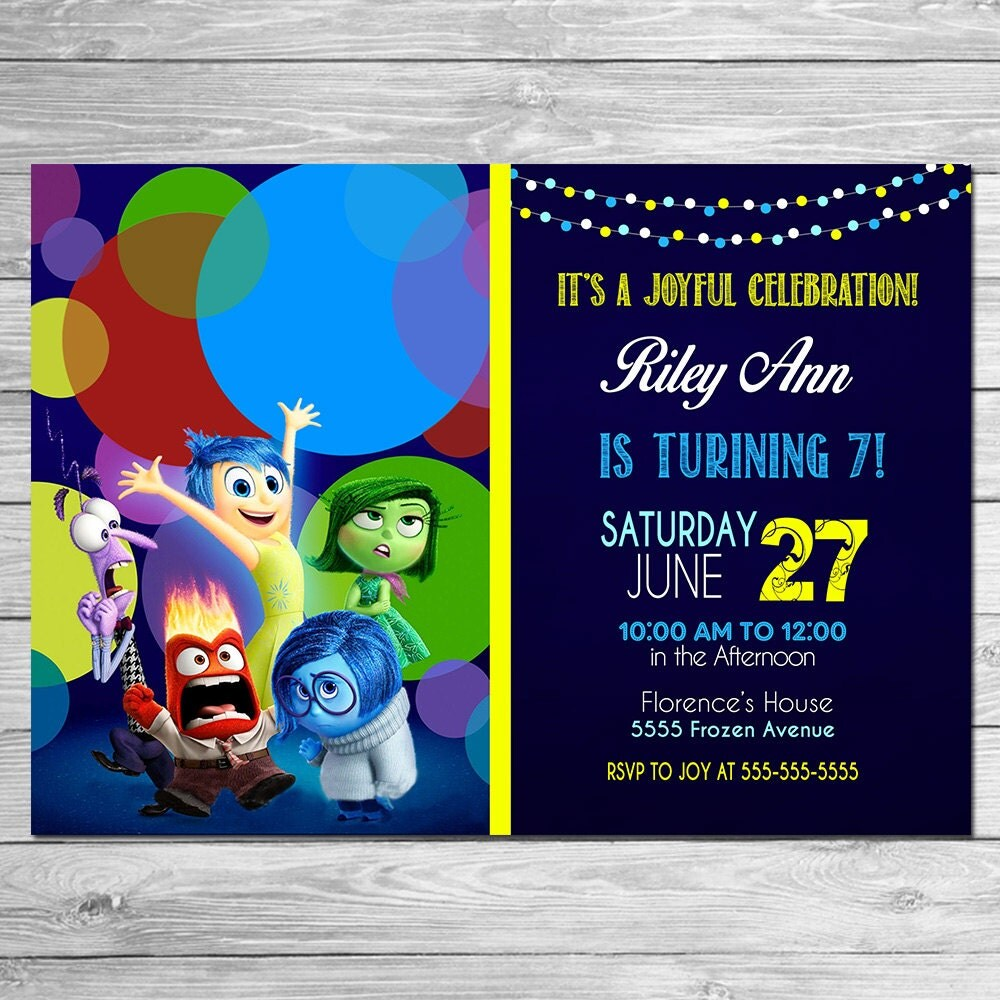 Inside Out Invitation Chalkboard Blue Inside Out Birthday - Birthday invitations inside out