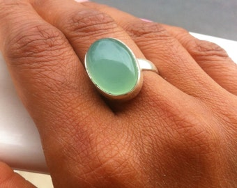 Aqua Chalcedony Ring Pacific Blue Chalcedony Aqua Oval Gemstone Ring 925 Sterling Silver Artisan Bezel Set Cabochon Ring Size 7,8,9,10,11
