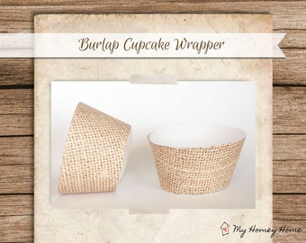Burlap Printable Cupcake Wrappers - Print 3 Wrappers per page!