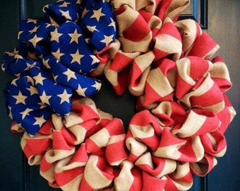 """Flag wreath Patriotic wreath 22"""" round Veteran's Day, fabric based on availabity see pictures.. Very full, and large"""