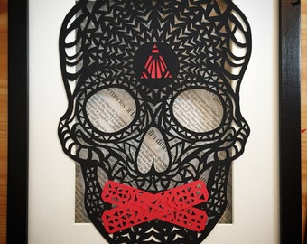 Speak Up!  Papercut skull - hand made with a blade - various colours