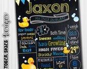 Rubber Ducky, Printable, 1st Birthday Chalkboard Poster, Custom, Birthday Poster