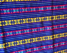 1-yard of cobalt blue tribal pattern Mexican Cambaya fabric