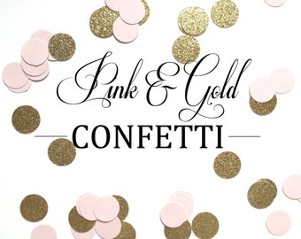 Pink and Gold Confetti Circles - Perfect for Weddings, Birthday Parties, Bridal Showers, Baby Showers, Invitations, Decorations.