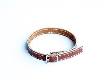 Collar, Cat Collar, Leather Cat Collar, Personalized Leather Cat Collar, Leather Cat Collar, Grey Thread Cat Collar