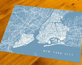 New York City, NY - Map Art Print  - Your Choice of Size & Color!