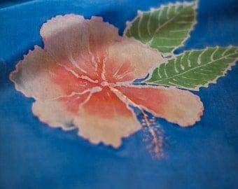 Silk shawl/wrap, Hibiscus, tropical, blue silk shawl, purple silk shawl