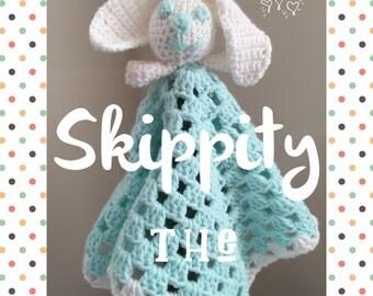 Skippity the Lovey Bunny Amigurumi Baby Toddler Lovie Blanket Blankie - Free Shipping Bunny Rabbit Granny Square Blanket Snuggie