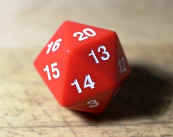 """Magnetic Dice of Curiously Strong Attraction - 55MM D20 Spindown with 3/4"""" x 1"""" MAGNET!"""