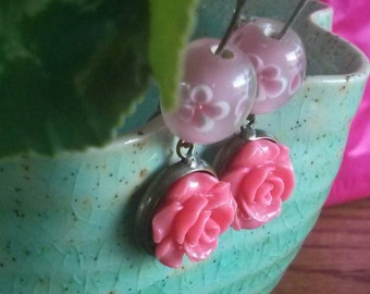 Rose & Cherry Blossom Earrings