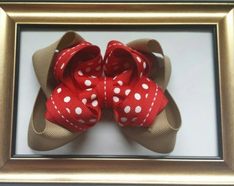 Medium Double Stacked Twisted Boutique Hair Bow, Red and White Polka Dots with Khaki Base