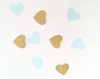 50 Gold and Minty Blue Heart Confetti for Wedding, Bridal Shower, Baby Shower etc