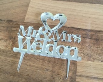 Personalised wedding heart  cake topper
